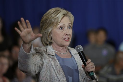 Democratic presidential candidate Hillary Rodham Clinton speaks during a campaign event, Sunday, July 26, 2015, at Iowa State University in Ames, Iowa. (AP Photo/Charlie Neibergall)
