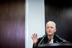 Environmental Protection Agency Administrator Gina McCarthy speaks at a news conference on a recent Colorado mine spill after speaking at a Resources for the Future policy leadership forum, Tuesday, Aug. 11, 2015, in Washington. (AP Photo/Andrew Harnik)