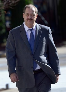 F. BRIAN FERGUSON | Gazette-Mail Don Blankenship leaves the Federal Courthouse on Thursday during a break for lunch.