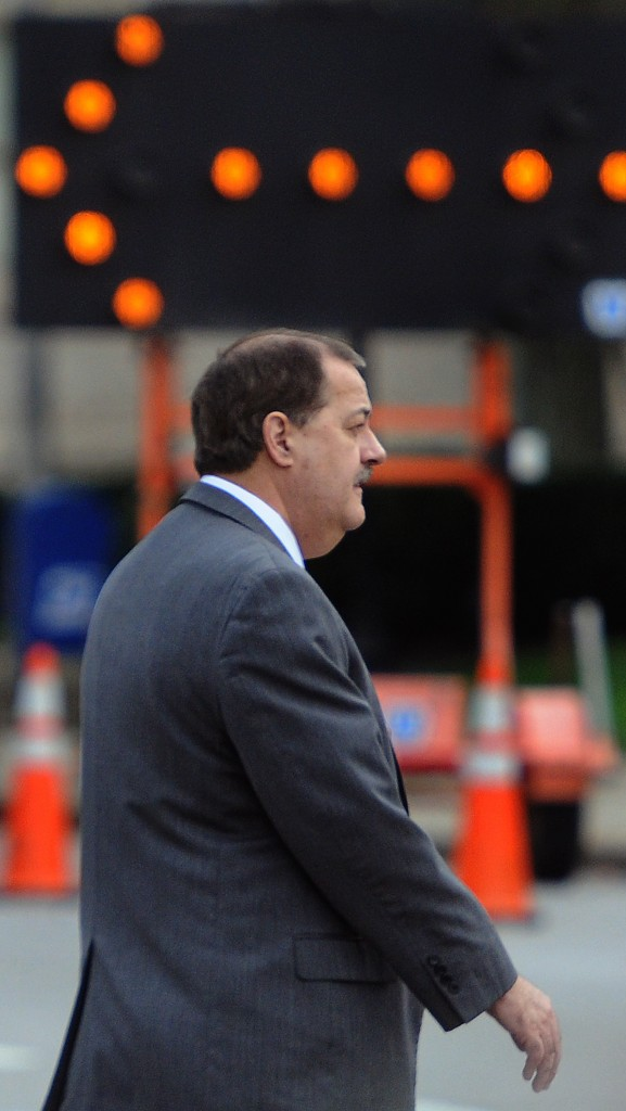 F. BRIAN FERGUSON | Gazette-Mail Don Blankenship leaves federal court on Wednesday after a juror fell ill.