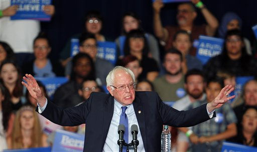 Democratic presidential candidate Sen. Bernie Sanders, I-Vt., speaks at a campaign rally at the Phoenix Convention Center in Phoenix, Tuesday, March 15, 2016. (AP Photo/Ricardo Arduengo)
