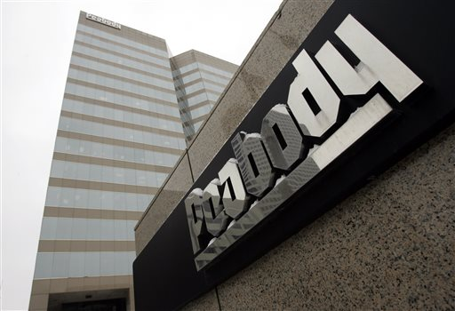 FILE - This Jan. 27, 2009, file photo shows Peabody Energy headquarters in St. Louis. Peabody Energy Corp. filed for Chapter 11 bankruptcy protection Wednesday, April 13, 2016, in the United States Bankruptcy Court for the Eastern District of Missouri. (AP Photo/Jeff Roberson, File)