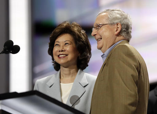 FILE - In this July 17, 2016 file photo, former Labor Secretary Elaine Chao and her husband, Senate Majority Leader Mitch McConnell, R-Ky., check out the stage during preparation for the Republican National Convention inside Quicken Loans Arena in Cleveland. President-elect Donald Trump has picked Elaine Chao to become transportation secretary, according to a Trump source. (AP Photo/Matt Rourke)