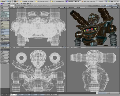 A robot under construction for the film.