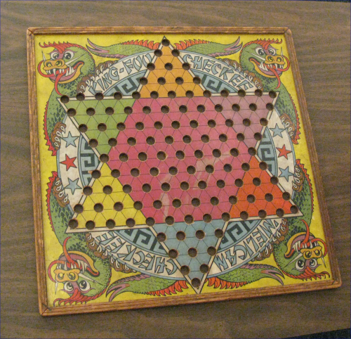 """This month, one of the rooms """"Over The Moon"""" has gone vintage, with some incredible cool old stuff, like this old Chinese Checkers set."""