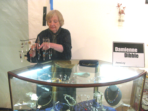 Damienne Dibble working on some of her jewlery creations