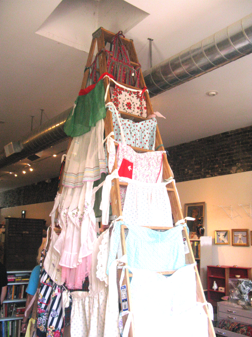 The tower of aprons, front view