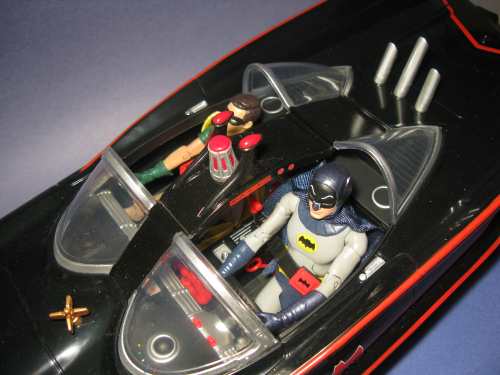 The nicely-detailed cockpit of the Batmobile