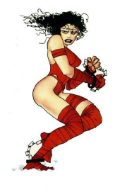 """This Frank Miller drawing of Elektra doesn't exactly scream out """"Jennifer Garner,"""" does it?"""