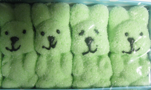 The second bunny from the right looks a little queasy