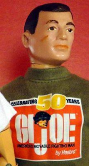 """GI Joe turns fifty, and some fear that all he'll get is this T Shirt. Actually, it's not even a  Hasbro item. The Shirt is from Patches of Pride and The Joe Report, your online source for 12"""" GI Joe news."""