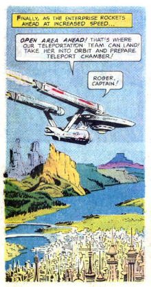 The Enterprise flying through the air, art by Alberto Giolitti