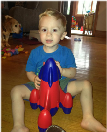 Seth, playing with his way-cool rocketship