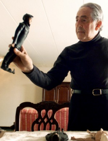 Levine with a GI Joe Frogman, in an AP photo