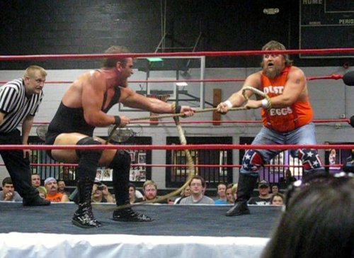 A texas Bullrope match opened the night at IWA  EC