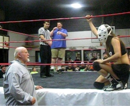 Crazy mary Dobson enters the ring, accompanyed by surprise guest, the legendary Kevin Sullivan