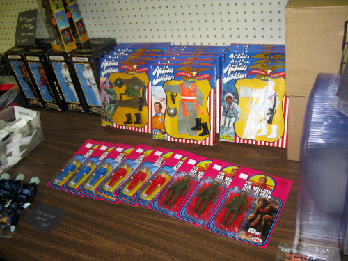 Also at the Cast A Way table, vintage Action Jackson and brand new Zica Six Million Dollar Man figures