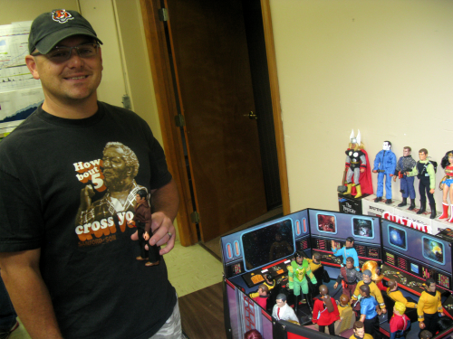 Charleston's top MEGO customizer, Tony DiTrapano, with a Dida Display Star Trek bridge that's still not big enough to hold all of his Star Trek customs