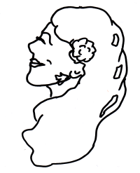 The hand-drawn flower-sniffing girl