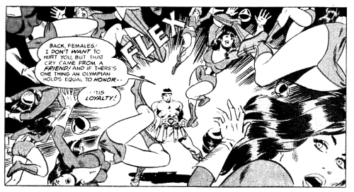 Hercules flexes away a horde of evil wormins, art by Simonson, heavily inked by Wally Wood