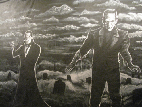 Part of the huge backdrop by Chriss Woodall, which will be seen on the main stage at ShockaCon