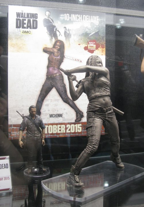 McFarlane Toys' 10: Michonne figure, coming this fall. This unpainted prototype was just finished two days before we saw it.
