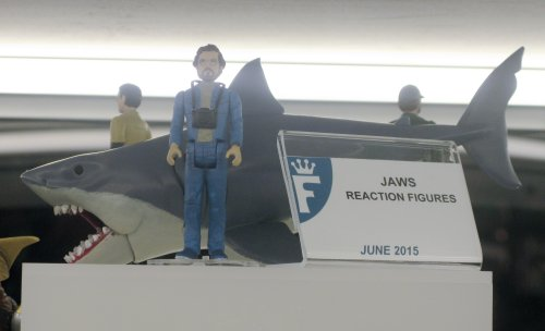 """Among the buttloads of 3 3/4"""" ReAction figures coming from Funko this year are four figures from """"Jaws,"""" including Bruce the shark, himself."""