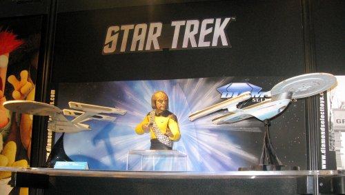 Star Trek Enterprise models and a Worf bust