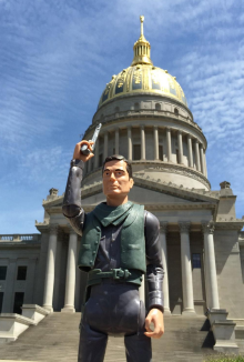 Johnny shoots up the State Capitol. Photo by Mark Wolfe