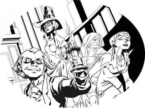 Preview ort for the cover of Charltoons first issue, the Scarry Squad, drawn by Dev Madden