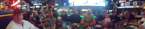 We leave you with a panoramic photo of many of us Marx Toy Convention attendees having dinner at TJ's Sports Bar in Wheeling.