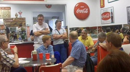 More of the crowd in the diner at The Marx Toy Museum
