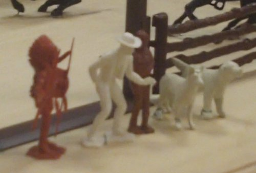 Chief Cherokee, Johnny West, Jane West and Flick and Flack, their dogs, in playset form