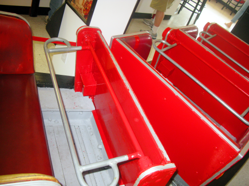 Inside the coaster. Kids can sit there and enjoy their ice cream.