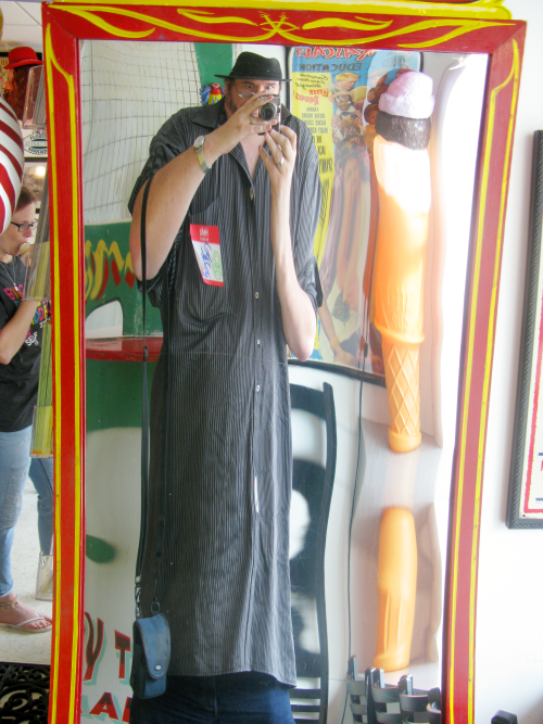 I think the funhouse mirror was not working that day. I really am this tall and thin.