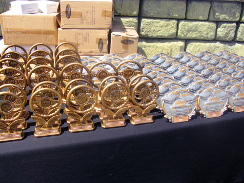 The awards, to be given out later---unless the Penguin makes off with them!