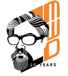 Mark, as seen by Glen Brogan, in his 20th Anniversary logo for Mark Wolfe Design