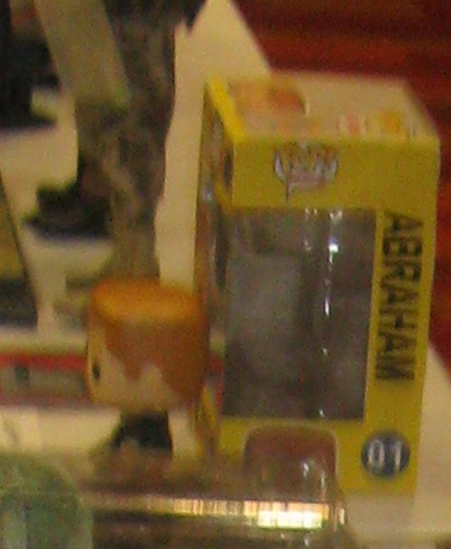 I only got this one fuzzy shot of a cool custom Funko Pop of Abraham from The Walking Dead