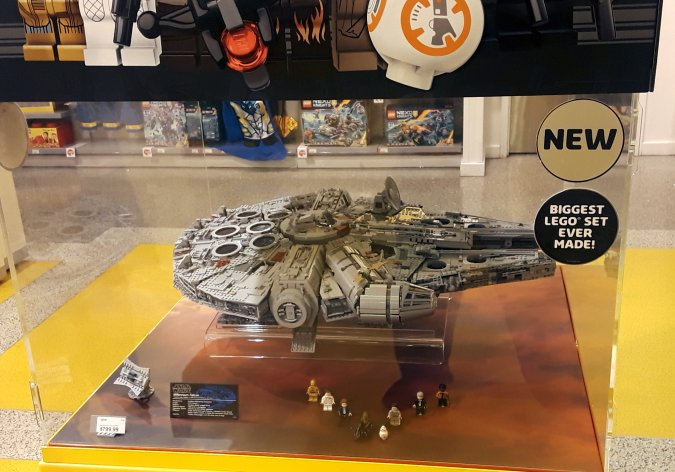 Meanwhile, at the LEGO Store at Water Tower Place, we saw an $800 Millenium Falcon.