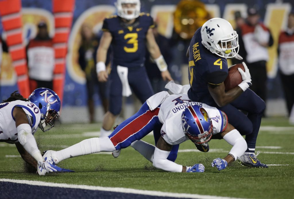Kansas and WVU tangle in Lawrence this year to start the conference schedule. (AP photo)