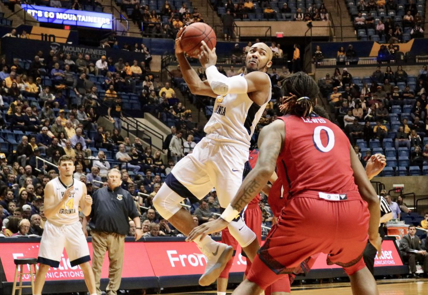 Jevon Carter goes in for a layup against NJIT Thursday night in WVU's big win, during which Carter set the Mountaineer career record for steals.  (Photo by Temitayo Adesokan / Daily Athenaeum)