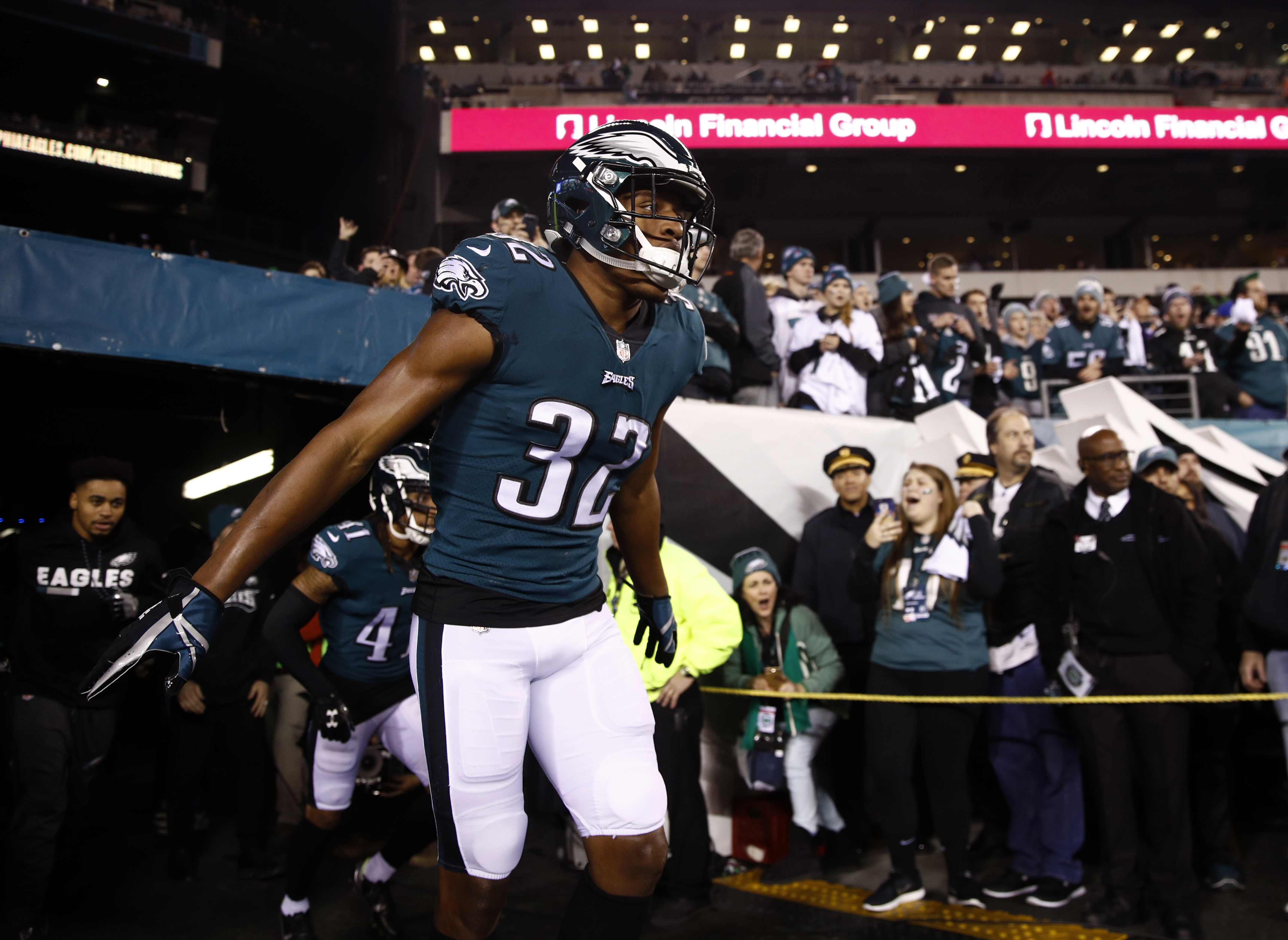 Philadelphia Eagles' Rasul Douglas takes the field before the NFL football NFC championship game against the Minnesota Vikings Sunday, Jan. 21, 2018, in Philadelphia. (AP Photo/Patrick Semansky)
